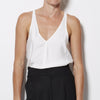 James Perse Sanded Satin V Neck Tank - White