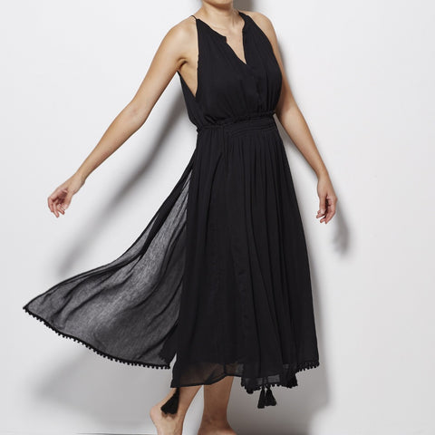 Apiece Apart Lippard Dress with Tassels - Black