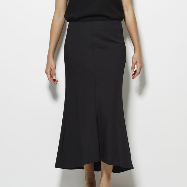 Tibi Agathe Midi Fluted Skirt - Black