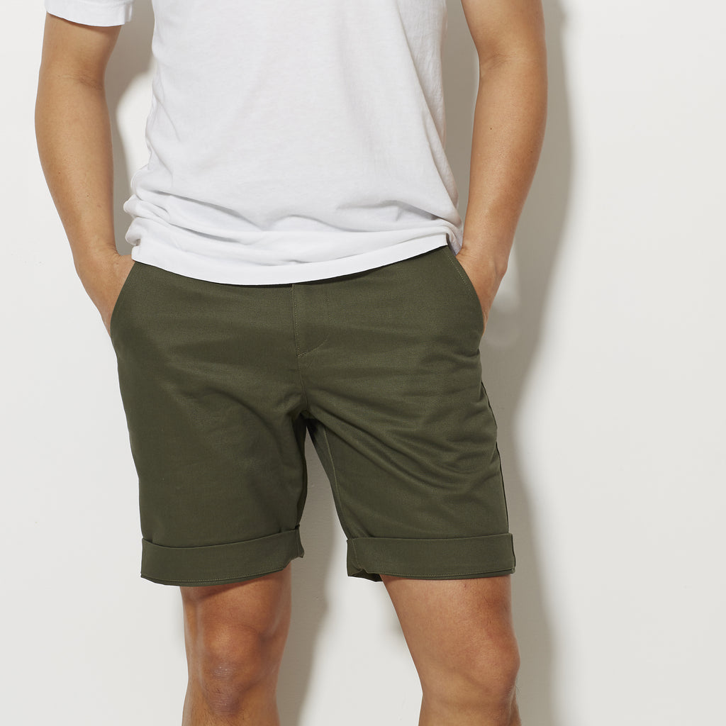Footage Slim Shorts - Military Olive