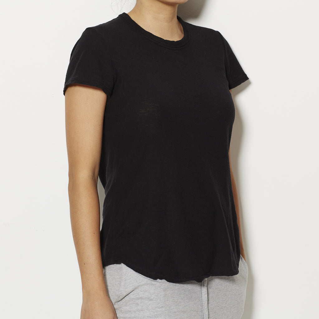 James Perse Women's Sheer Slub Crew Neck Tee - Black