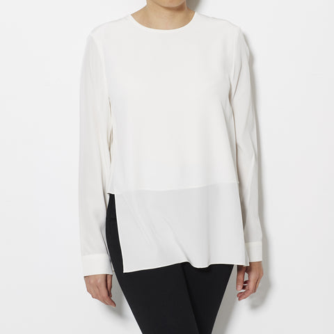 Silk Crepe de Chine Layered Long Sleeve Top - Ivory