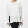 Tibi Silk Crepe de Chine CDC Layered Long Sleeve Top - White