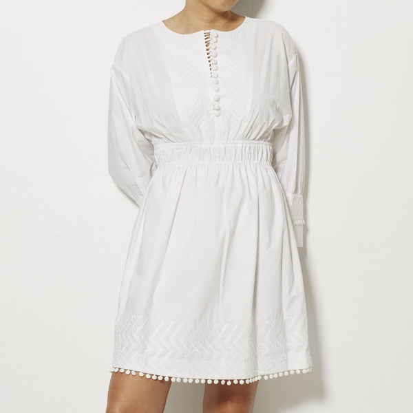 Apiece Apart Allende Embroidered Cotton Tunic - White