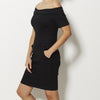 3x1 Off Shoulder Denim Dress - Black Rinse