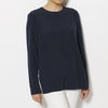 Tibi Silk Crepe de Chine CDC Long Sleeve Layered Top - Navy