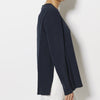 Silk Crepe de Chine Long Sleeve Layered Top - Navy/Blk
