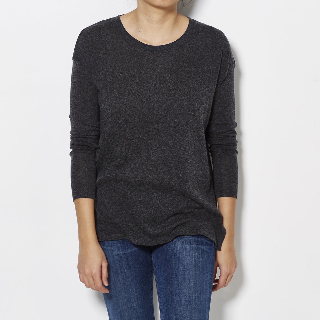 Majestic FIlatures Cotton Cashmere Long Sleeve Tee - Charcoal