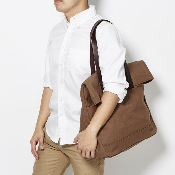 Makr Leather and Canvas Fold Weekender - Tobacco