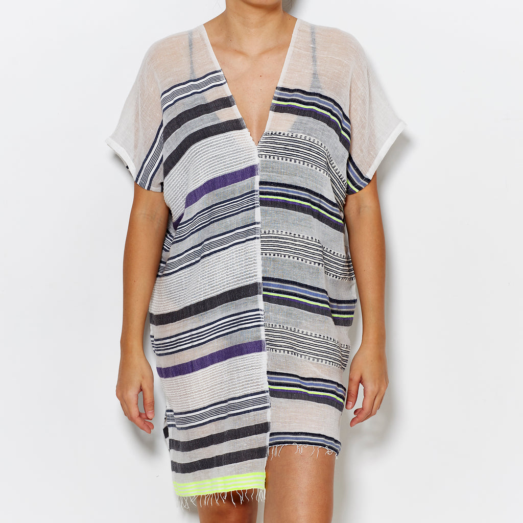 LemLem V Neck Kaftan - Grey/Purple