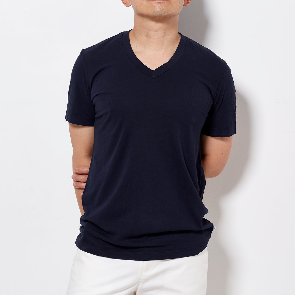 James Perse Men's Short Sleeve V Neck T-Shirt -  Navy