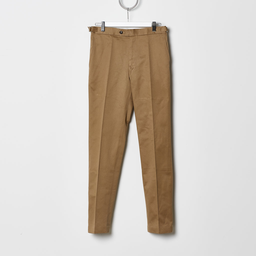 Footage 002 Pants - Mid Rise Trousers with Side Tab Adjusters in British Khaki