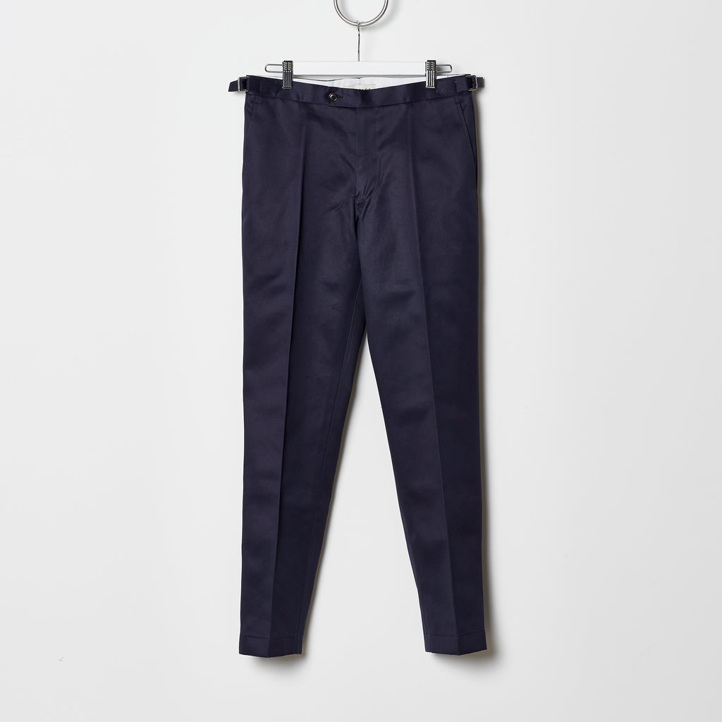Footage 002 Pants - Mid Rise Trousers with Side Tab Adjusters in Navy