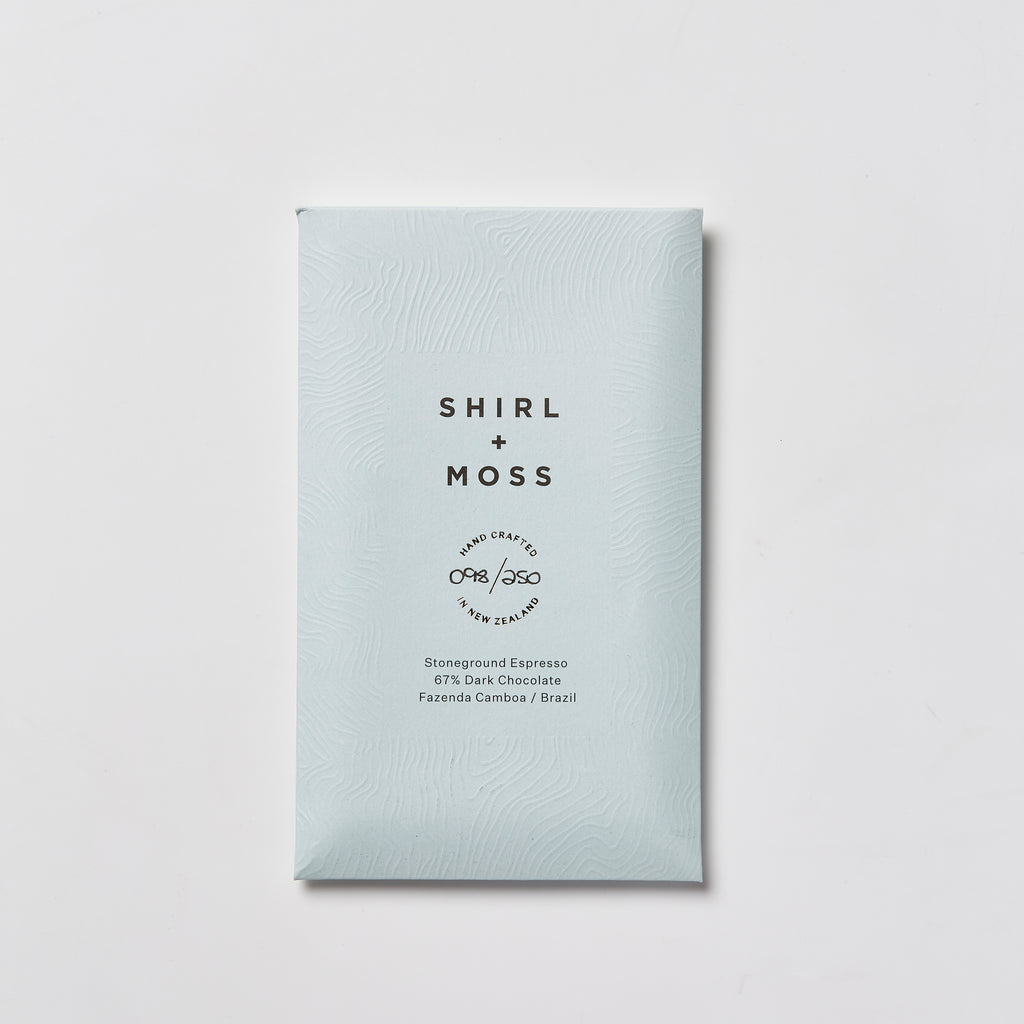 Shirl + Moss Stoneground Espresso 67% Dark Chocolate
