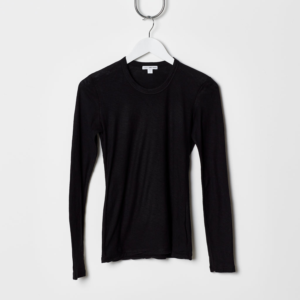 James Perse Sheer Slub Long Sleeve Crew Neck Tee - Black