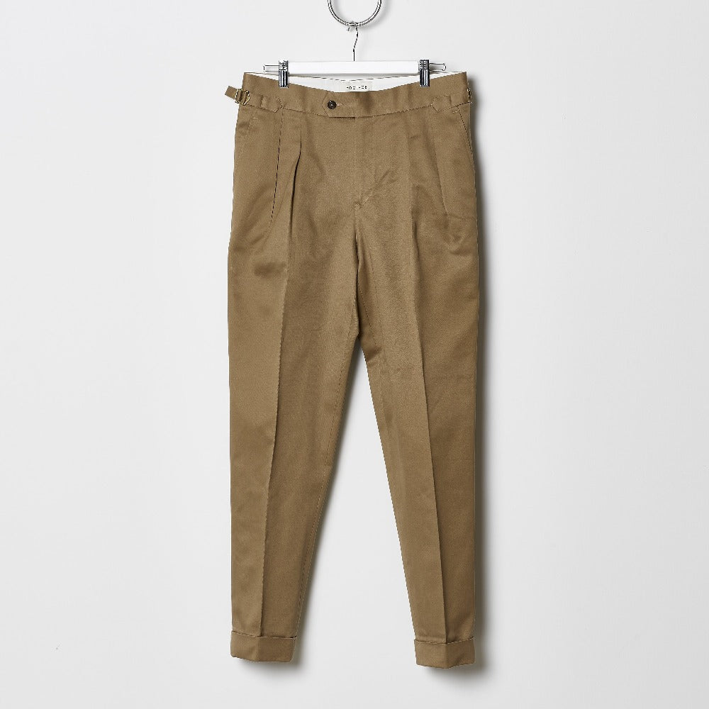 Footage High Waisted Pleated Pants - British Khaki