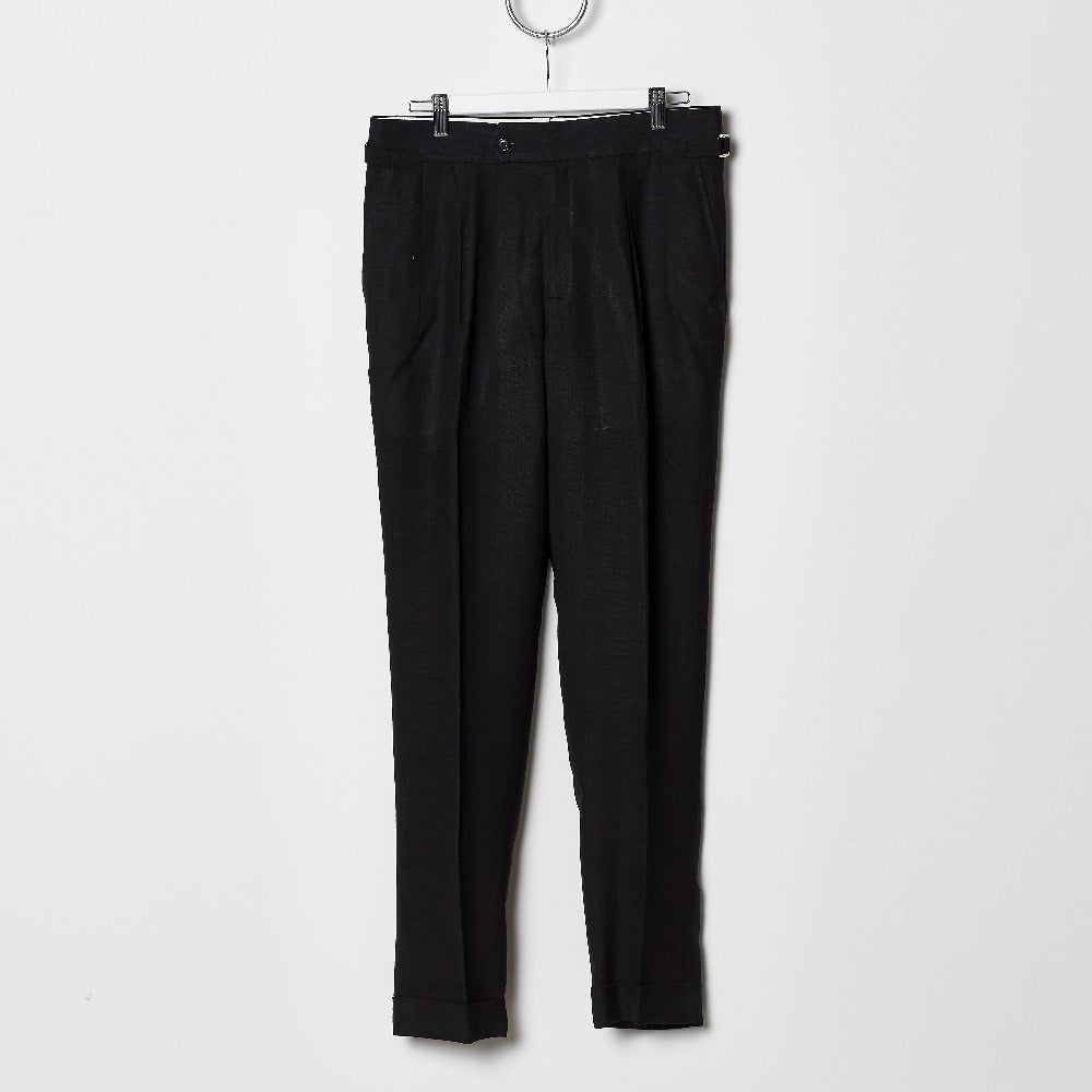 Footage High Waisted Pleated Pants - Black Linen