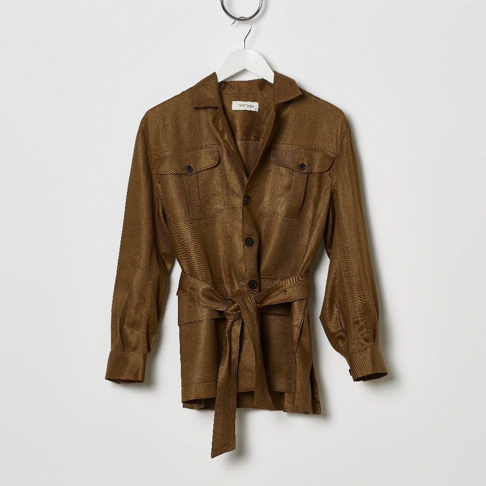 Footage Linen Safari Jacket - Rust