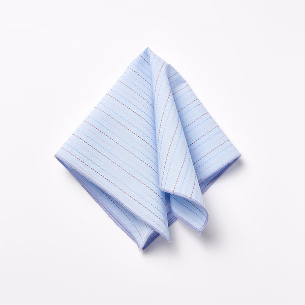Footage Pocket Square - Blue/Pink Jacquard Stitch
