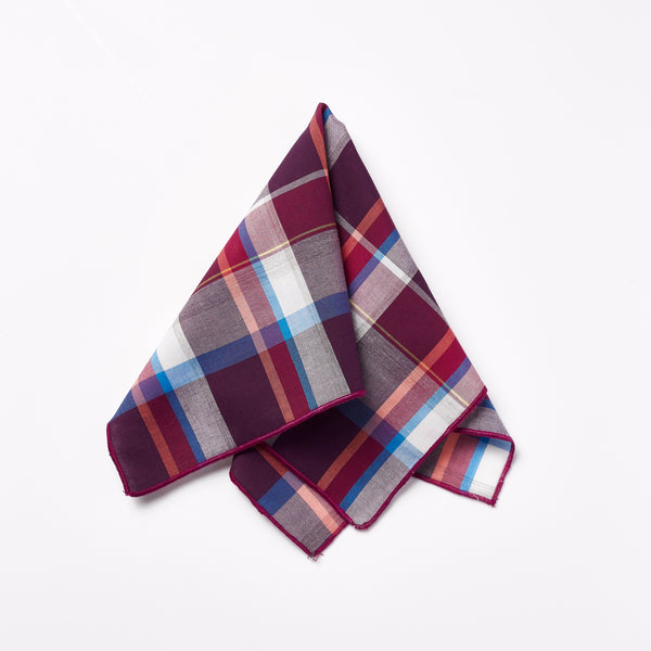 Footage Pocket Square - Red Check