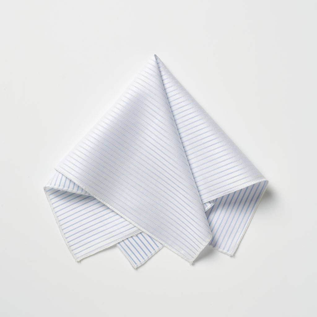 Footage Pocket Square - White/Blue Stripes