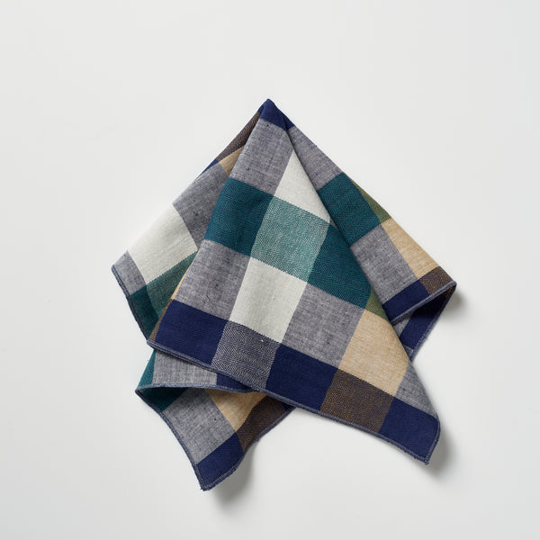 Footage Pocket Square - Navy/Green/Cream/White Check