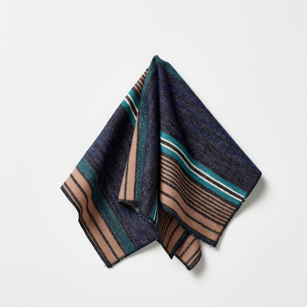 Footage Pocket Square - Navy/Green/Tan Stripes