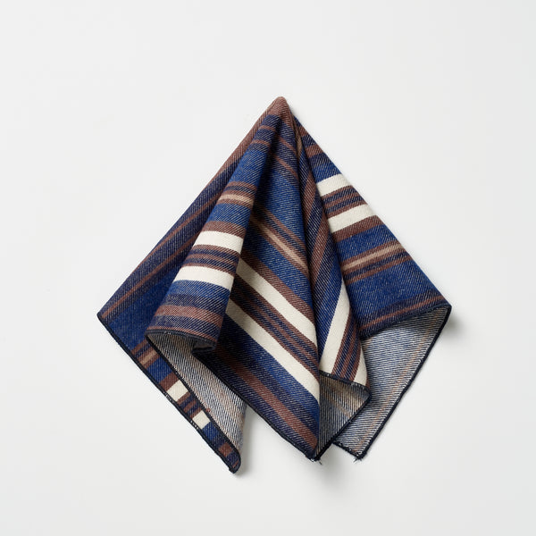 Footage Pocket Square - Navy/Brown/White Stripes