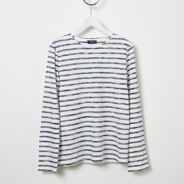 Saint James Minquiers Moderne Stripe Tee - White/Variegated Blue