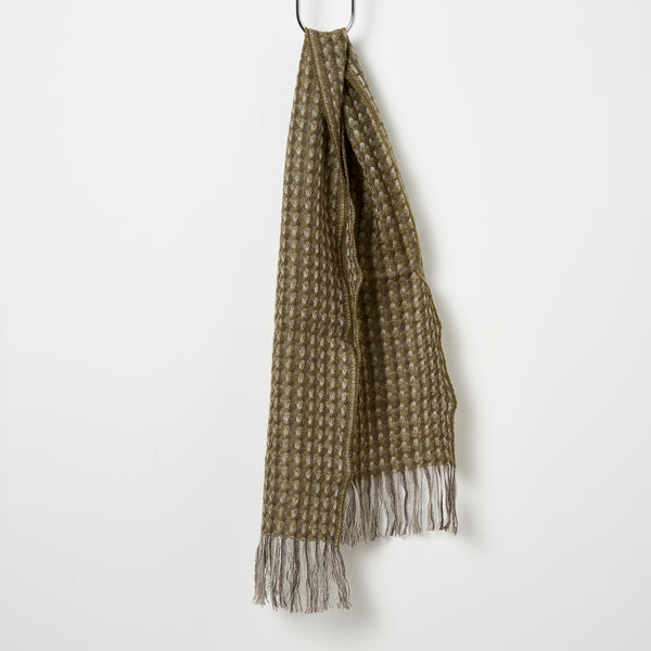 Stansborough Kauri Woven Scarf - Dark Moss