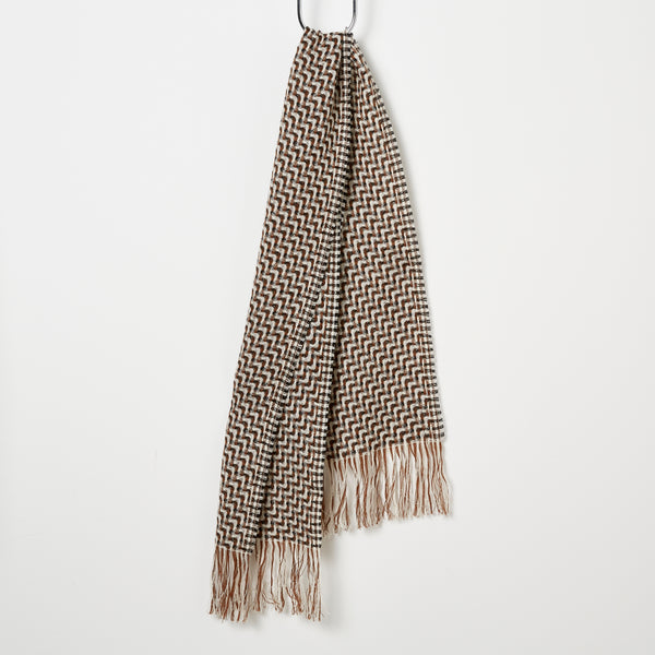 Stansborough Woven Scarf - Coffee/Black/Ecru