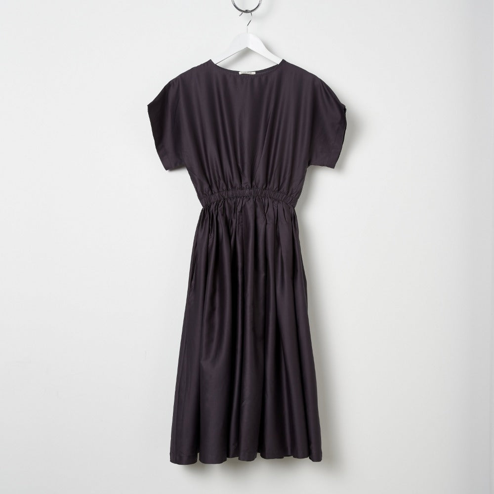 Black Crane Pleated Dress - Black