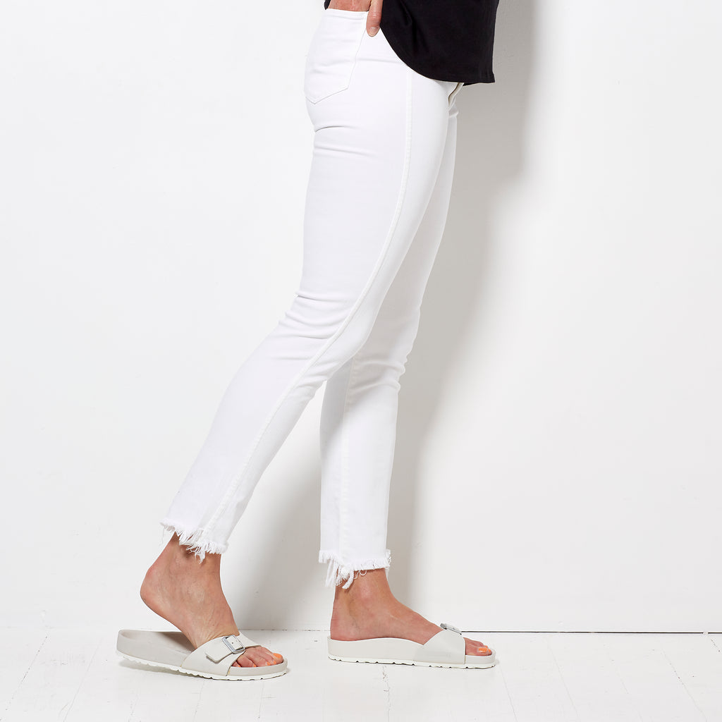 3x1 W3 High Waisted Straight Cropped - Niseko White