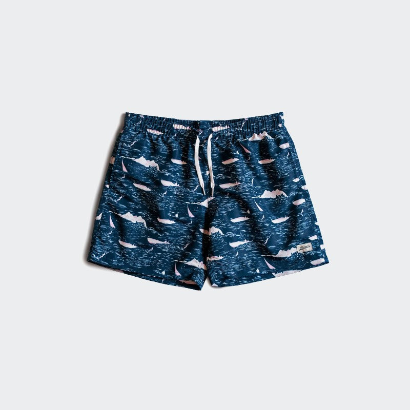 Bather Swim Shorts - Navy Motorboat
