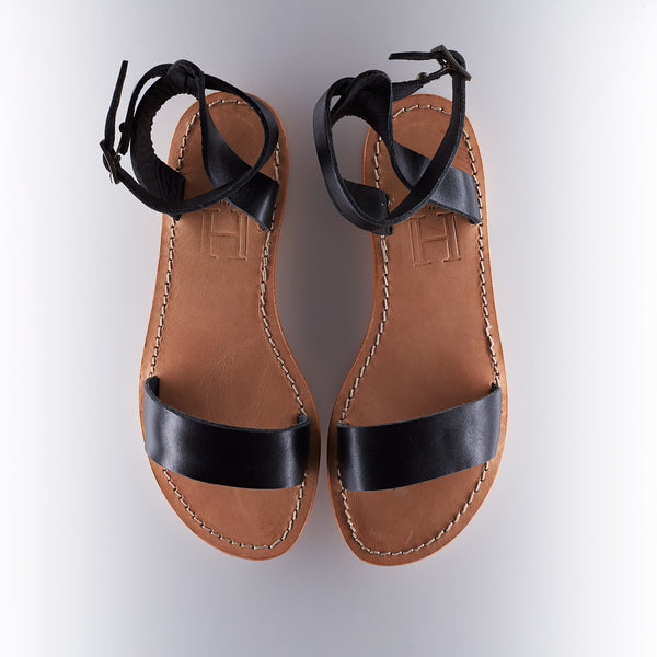 Capri Positano Sandal - Classic Ankle Band - Black/Raw Tan