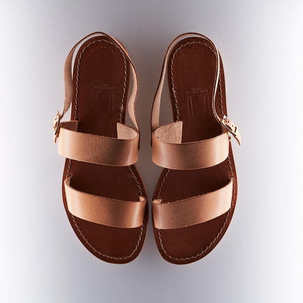 Capri Positano Sandals - Double Band Sling - Natural Raw Tan