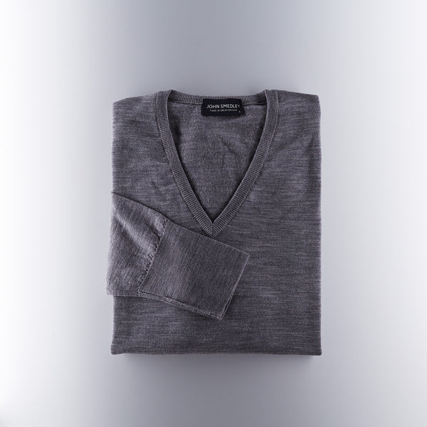 John Smedley Merino Wool V Neck Sweater - Grey