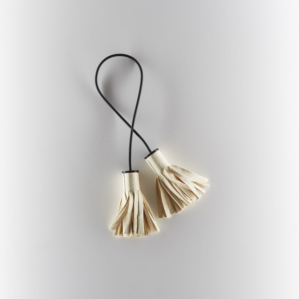 Building Block - Double Tassel in Cream/Black