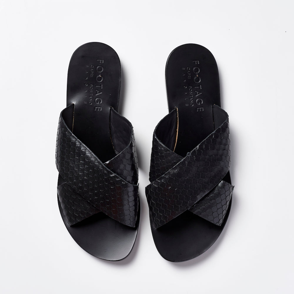 Footage x Capri Positano Cross Slides Black