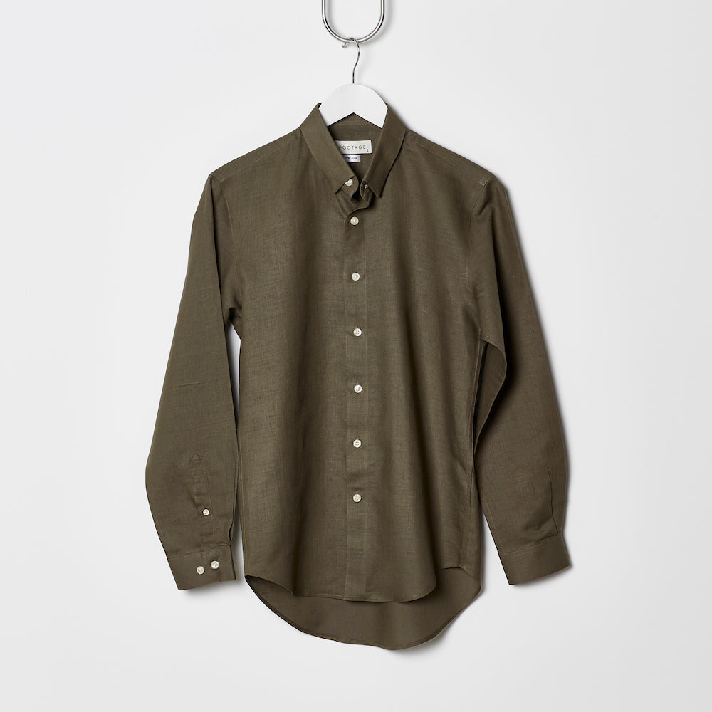 Footage Long Sleeve Linen Shirt Olive