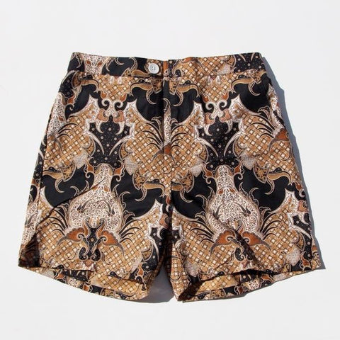 Straits Shorts - Black/Gold Pineapples