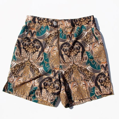 Straits Shorts - Green/Black/Gold Pineapples