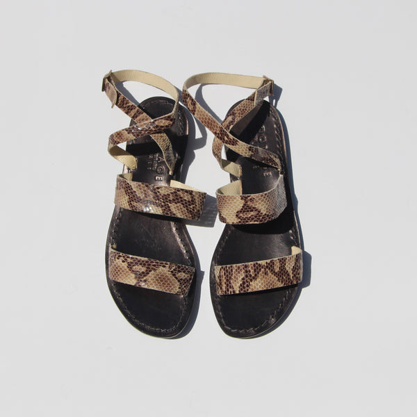 Capri Positano Sandals - Double Band Wrap - Python