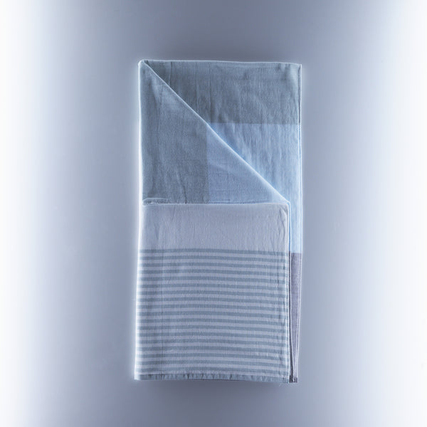 Yoshii Towel - Tri Tone Chambray - Grey/Green/Stripe