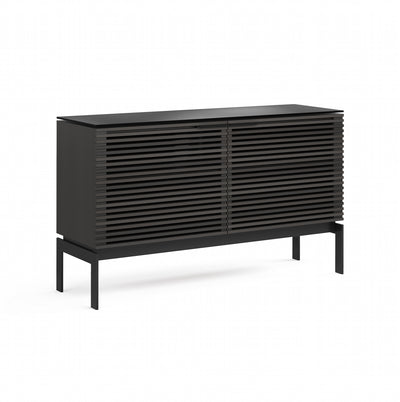 Corridor 7128SV Slim Entertainment Cabinet | Charcoal Stained Ash