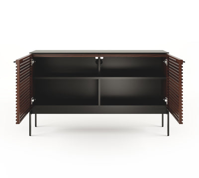Corridor 7128SV Slim Entertainment Cabinet | Chocolate Stained Walnut