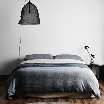 Herringbone Quilt Cover Set | Ink