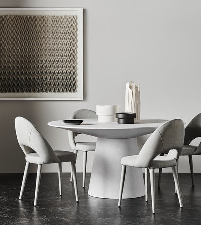 Livorno Round Concrete Dining Table | White