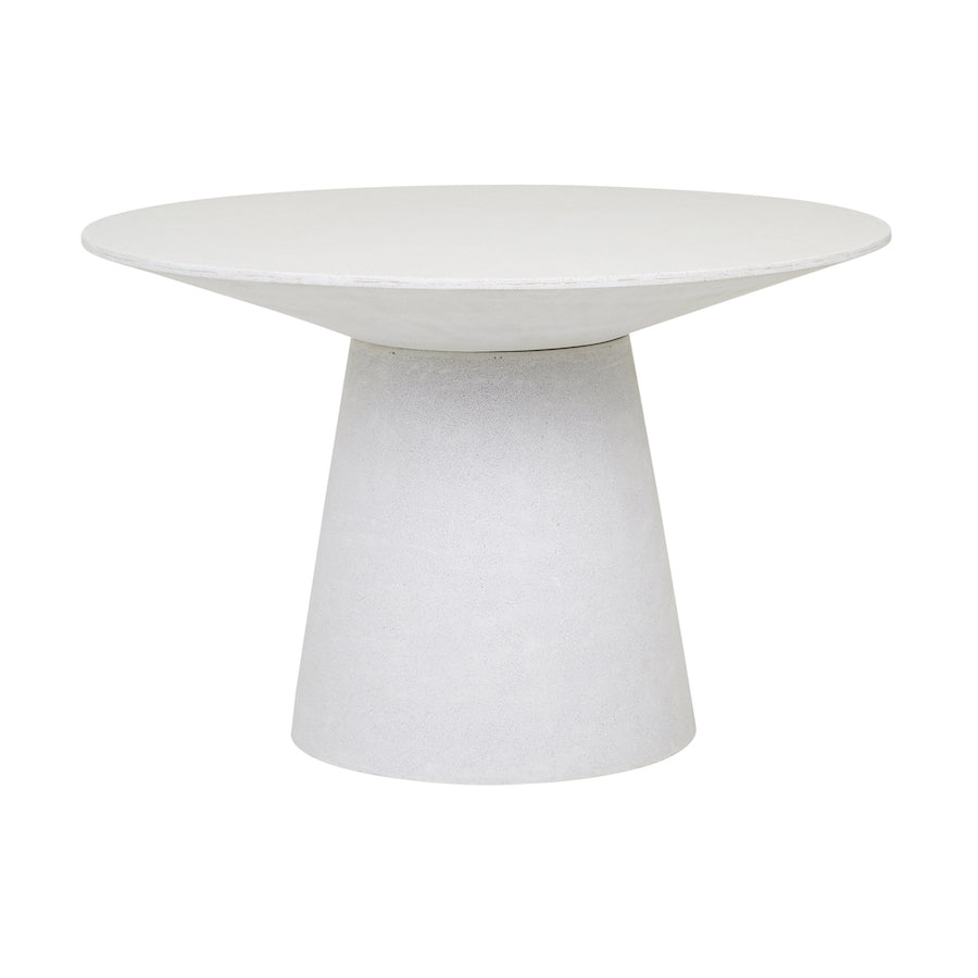 Livorno Round Concrete Patio Dining Table | White