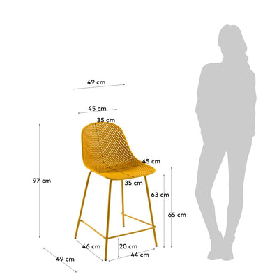Lonsdale Bench Height Patio Barstool | Mustard